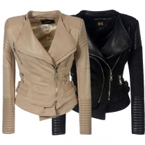 Fashion PU Leather Spliced Long Sleeve Oblique Zipper Slim Fit Jacket