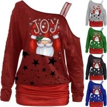 Sexy Off-shoulder Long Sleeve Christmas Printed Sweatshirt