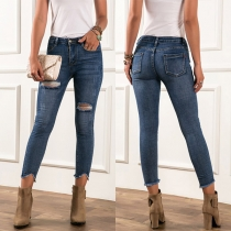 Fashion High Waist Ripped Slim Fit Jeans