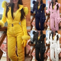 Fashion Solid Color Faux Fur Spliced Hooded Sports Jumpsuit