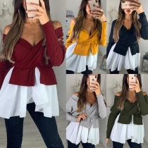 Sexy V-neck Long Sleeve Irregular Hem Top