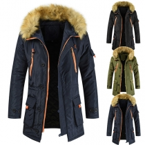 Fashion Faux Fur Spliced Hooded Man's Warm Coat