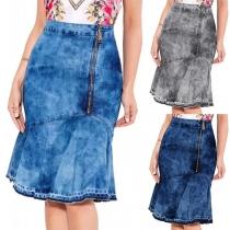 Fashion High Waist Irregular Fishtail Hem Denim Skirt