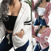 Fashion Contrast Color Long Sleeve Hooded Plush Jacket