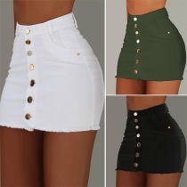Fashion Solid Color High Waist Single-breasted Skirt