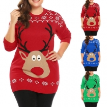 Cute Style Long Sleeve Round Neck Elk Pattern Sweater