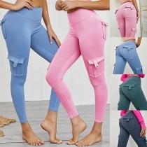 Damen Stretch Leggings Slim Fit Hose mit Gesäßtaschen und Cargotaschen