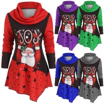 Fashion Long Sleeve Cowl Neck Irregular Hem Santa Claus Printed Top