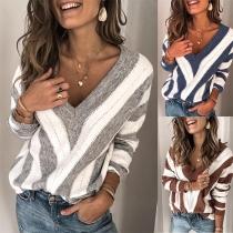 Strickpullover V-Ausschnitt-Pullover im Multicolor-Streifenmuster