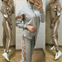 Damen Sportswear Sportanzug mit kontrastfarbiger Elemente