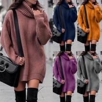 Long-Sweater, Pulloverkleid, Strickkleid mit Rollkragen