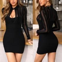 Sexy elegante Minikleid Partykleid mit Mesheinsatz