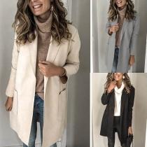 Simple Style Long Sleeve Notched Lapel Slim Fit Woolen Coat