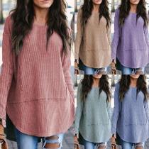 Fashion Solid Color Long Sleeve Round Neck Arc Hem T-shirt