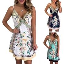 Sexy Backless V-neck Printed Sling Dress
