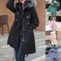 Fashion Faux Fur Spliced Hooded Solid Color Padded Coat