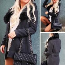 Fashion Solid Color Detachable Faux Fur Collar Slim Fit Coat