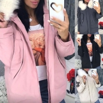 Fashion Faux Fur Spliced Hooded Sequin Star Padded Coat
