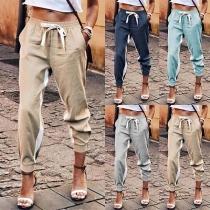 Fashion Contrast Color Elastic Waist Casual Pants