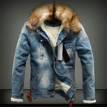 Fashion Faux Fur Spliced Hooded Plush Lining Man's Denim Coat