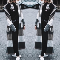 Fashion Long Sleeve Notched Lapel Loose Plaid Overcoat