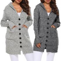 Fashion Long Sleeve Hooded Single-breasted Knit Cardigan