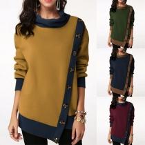 Fashion Contrast Color Oblique Button Cowl Neck Sweatshirt