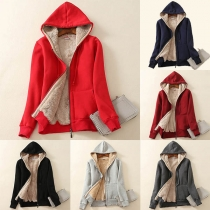 Fashion Solid Color Plush Lining Hooded Sweatshirt Coat