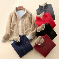 Fashion Solid Color Stand Collar Faux Cashmere Lining Sweatshirt Coat