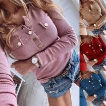 Langarmshirt mit Druckknopfleiste und Zierbrusttasche mit Knopf