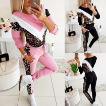 Fashion Leopard Spliced Long Sleeve Sweatshirt + Pants Two-piece Set