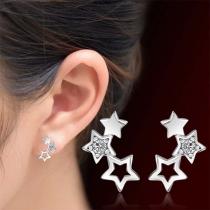Simple Style Pentagram Shaped Stud Earrings