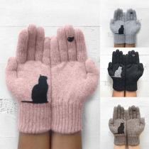 Strickhandschuhe Handschuhe mit Katze-Motive