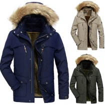 Fashion Solid Color Faux Fur Spliced Hooded Plush Lining Men's Coat
