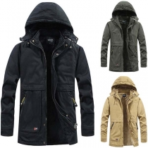 Fashion Solid Color Long Sleeve Hooded Plush Lining Man's Jacket