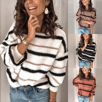 Fashion Long Sleeve Round Neck Loose Striped Sweater