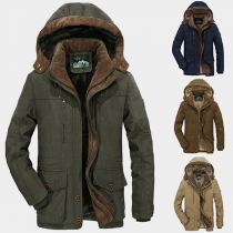 Fashion Solid Color Plush Lining Hooded Men's Coat