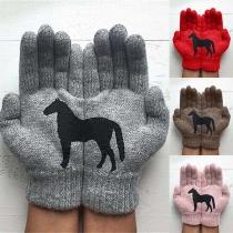 Strickhandschuhe Handschuhe mit Pferd-Motive
