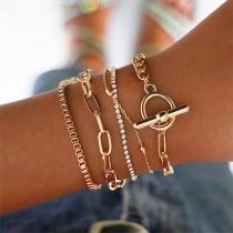 5-tlg. Damenschmuck Set, 5 Armketten, eine davon mit Strasssteine