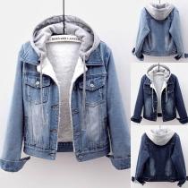 Fashion Long Sleeve Detachable Hooded Plush Lining Denim Coat(The size falls small)