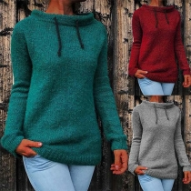 Fashion Solid Color Long Sleeve Stand Collar Sweater