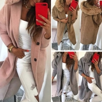 Fashion Solid Color Long Sleeve Faux Fur Spliced Hooded Coat