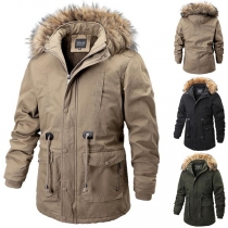 Fashion Solid Color Faux Fur Spliced Hooded Plush Lining Man's Padded Coat