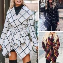 Fashion Long Sleeve Lapel Irregular Hem Plaid Cardigan