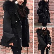 Fashion Faux Fur Spliced Hooded Drawstring Waist Padded Coat