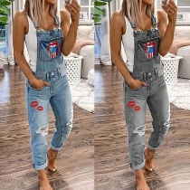 Chic Style Red-lip Printed Ripped Denim Overalls