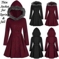 Fashion Solid Color Faux Fur Spliced Hooded Double-breasted Thin Coat For Spring/Fall