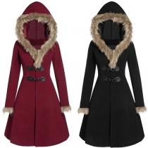 Fashion Faux Fur Spliced Hooded Horn Button Coat