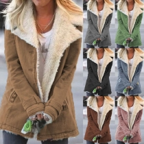 Fashion Solid Color Notched Lapel Thin Plush Lining Padded Coat