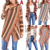 Fashion Contrast Color Striped Tassel Shawl Cardigan